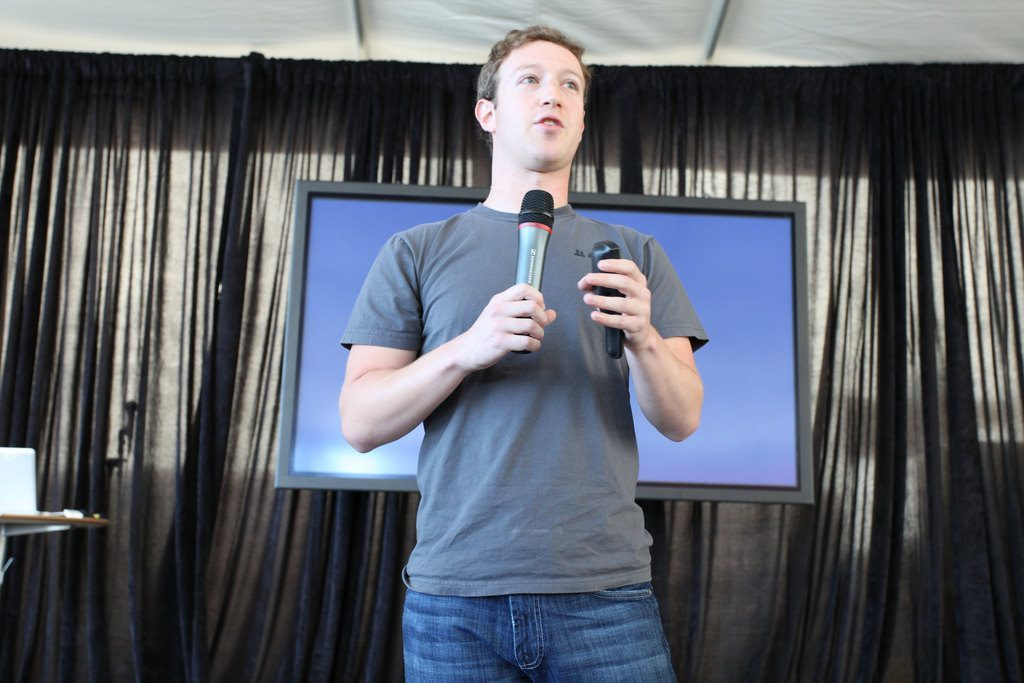 Mark Zuckerberg, founder and CEO, shows off the new messaging system in Facebook.