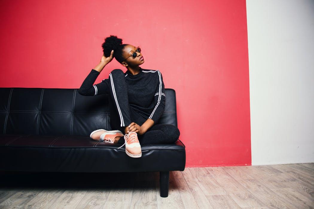 woman sitting in a sofa