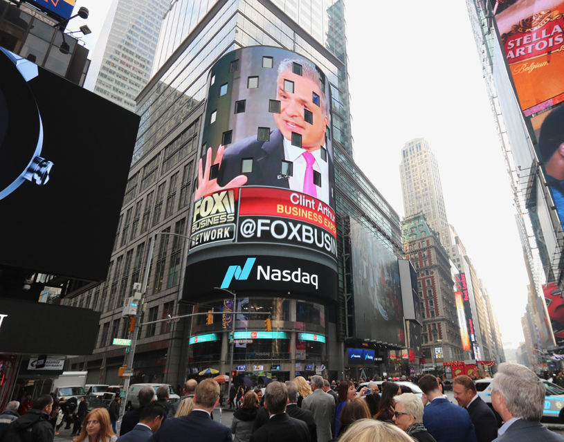 Clint Arthur on the NASDAQ Jumbotron in Times Square