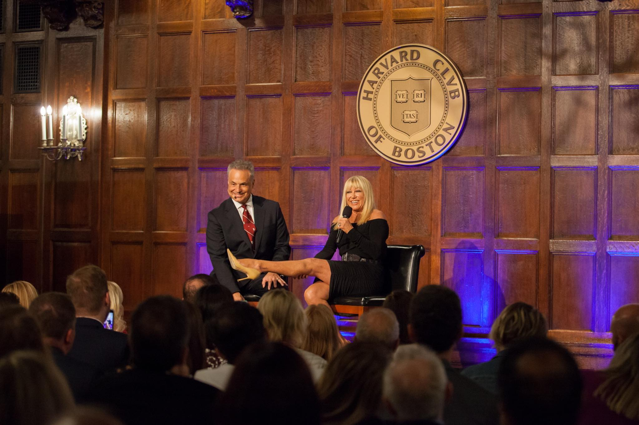 Clint Arthur with Suzanne Somers at Harvard Club of Boston