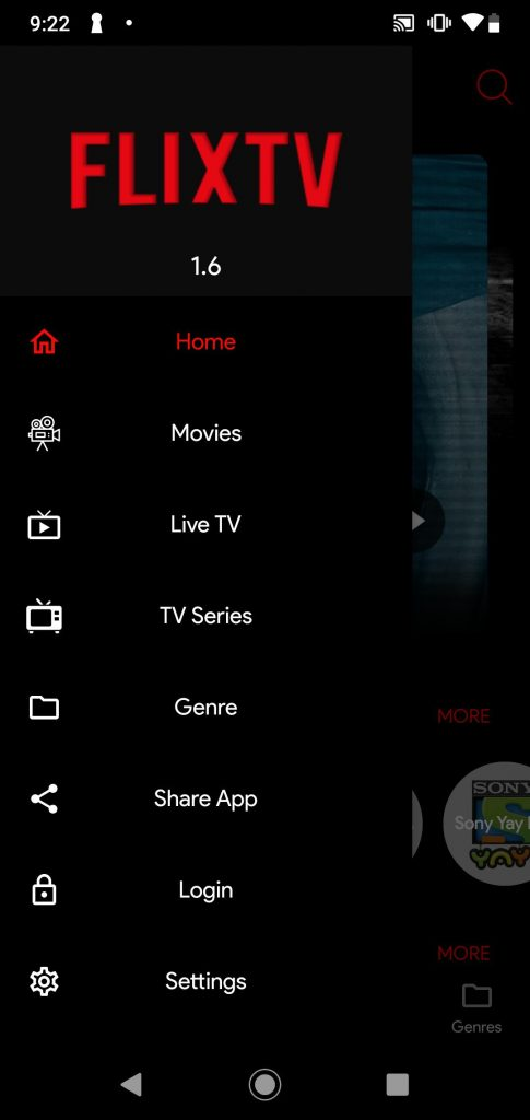 FlixTV APK menu