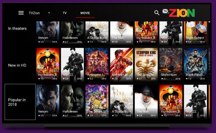 TVZion APK popular titles