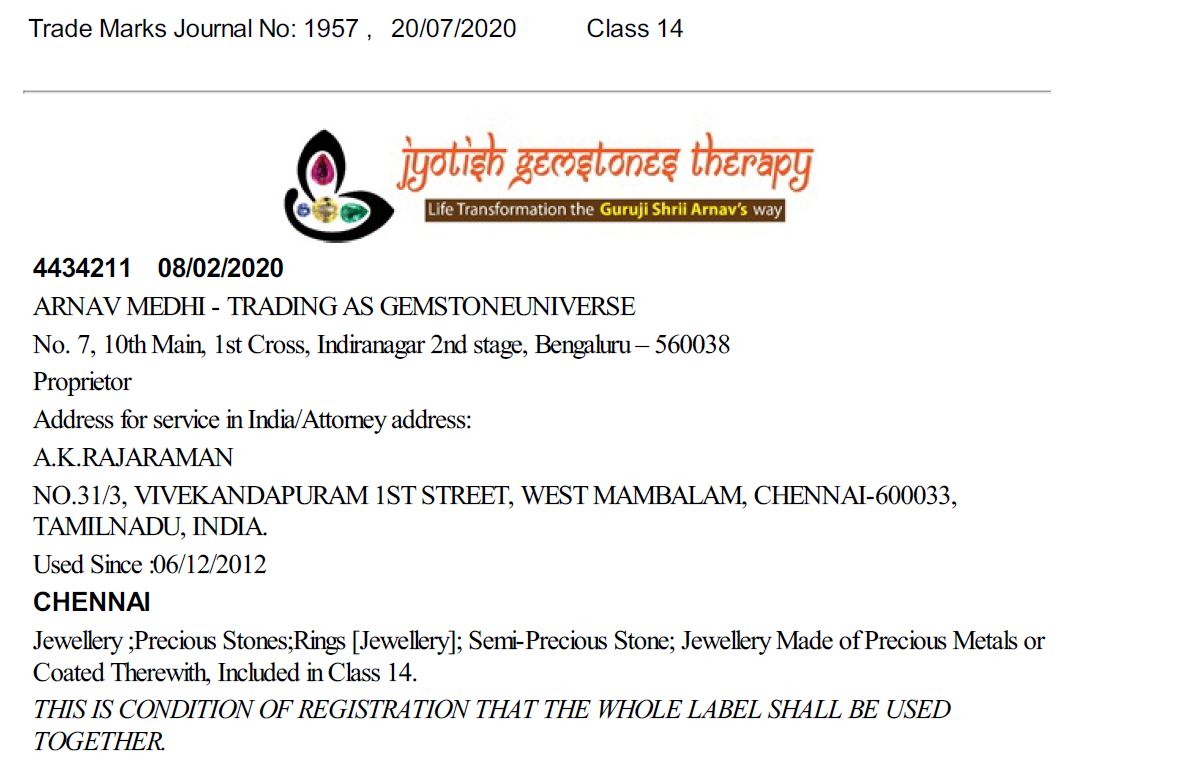 trademark on Jyotish Gemstone Therapy