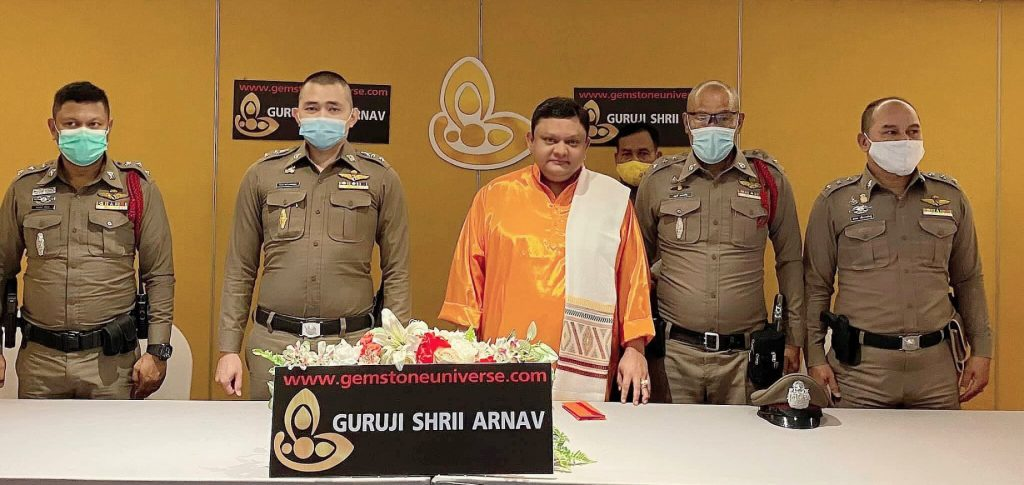 Guruji Shrii Arnav with senior officers of the Royal Thai Police